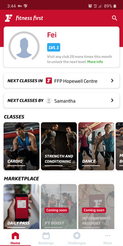 In the Home screen, you can start to book a class. Choose by club, by instructor or click on the classes tile to search for your preferred class